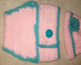 Infant Blue and Pink Hat Diaper Cover Set Photography Prop