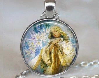 Madonna of the Lilies necklace, Madonna pendant, Madonna necklace, Easter Lily pendant, Christian jewelry, Easter jewelry
