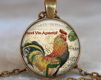 Rooster Collage necklace, Rooster necklace chicken necklace rooster pendant chicken lover gift, farmer's necklace key chain key ring