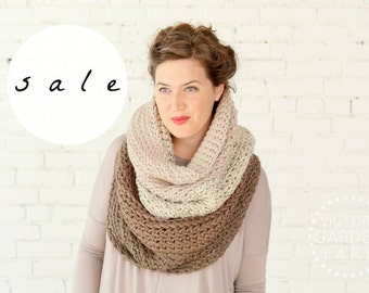 SALE | LAST ONE! | The Ombré Cowl in Café au Lait | Chunky Knit Ombré Oversized Huge Textured Winter Cowl Scarf