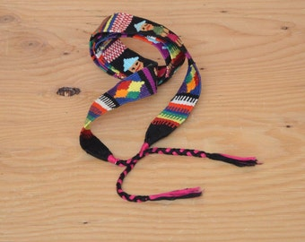 Vintage 80's Belt Embroidered Guatemalan Woven Rainbow Fabric Wrap