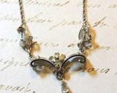 Sterling Silver Rhinestone Necklace Bib by Am Lee Bib Vintage Crystal Wedding Bridal Jewelry