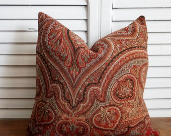 Vintage red damask pillow cover