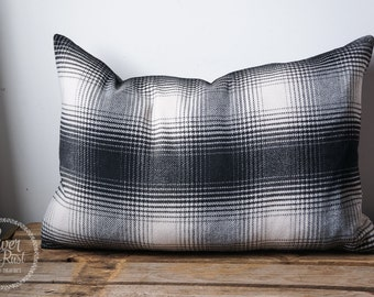 Black and white soft graphic pillow
