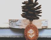Mushroom Pendant, Paper Cut Jewelry, Woodland Fantasy, Orange Necklace