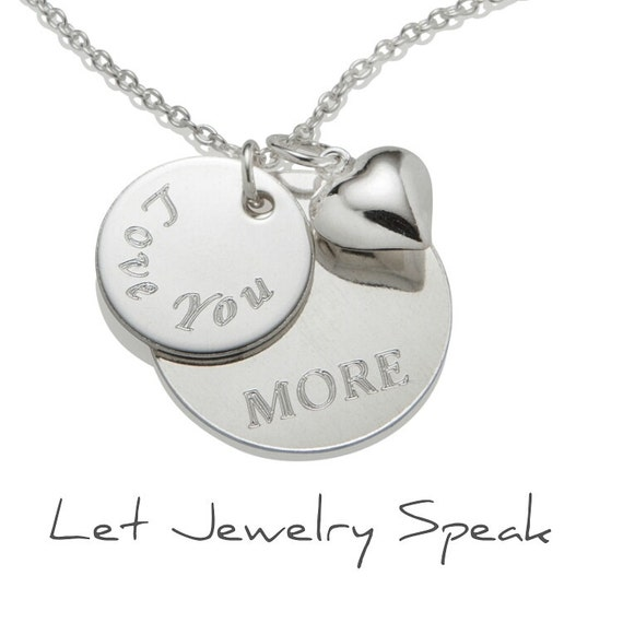 Engraved Wedding Gift For Bride : Personalized Wedding Gift for Bride, Love you More Necklace Pendant ...
