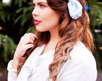 Baby Blue Velvet Hair Bow