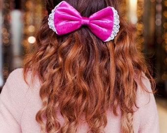 Hot Pink Velvet Hair Bow