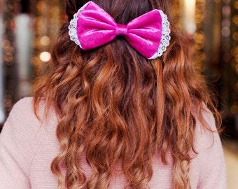 Hot Pink Velvet Hair Bow, Velvet Hair Clip, Pink Hair Bow, Lace Victoriana Hair Accessory