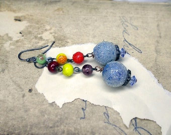 Rustic Beaded Earrings - Vintage Bead Earrings - Colorful Mismatch - Sugar Beads - Vintage Beaded Chain Links - Frosty Ice Blue, Yellow, Red