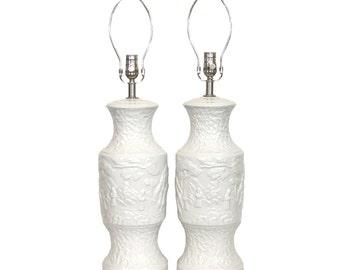 Pair Mid-Century Asian Modern White Ceramic Lamps