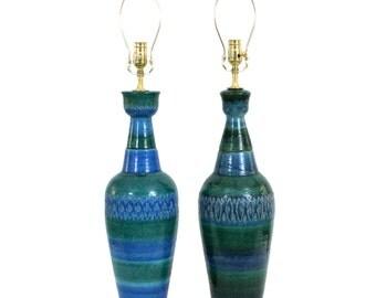 PAIR Bitossi for Raymor Italian Pottery Lamps Mid-Century Modern