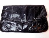 Black Eel Skin Clutch, 80s Leather Handbag, Evening Bag, Black Purse