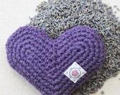 Organic Lavender Heart Sachet in Amethyst - Hand Crocheted Eco-friendly Gift