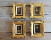 Set of 4 Vintage Baroque Pictures // Gold Frames // Italian Art Pieces
