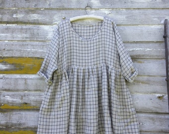 Gray Plaid Linen Dress Tunic Washed Linen Shirt Prairie Dress Lagenlook  Ready To Ship 48 Bust