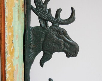 Moose hook Hanger Cast iron hardware Hunter Green antlers  Rustic Lodge cabin wall decor hardware Supplies 9 inch