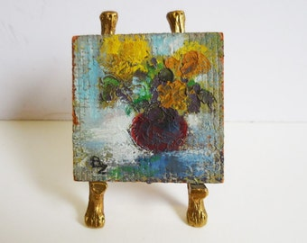 Vintage miniature painting Original art on wood w/ easel Vase of flowers Impressionism signed floral garden dollhouse art