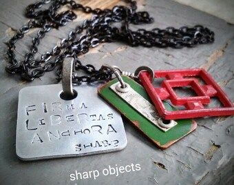 Solid Free Grounded - industrial square frame, hardware & stamped silver Latin text tag charm chain NECKLACE