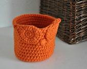 Small Orange Owl Basket Crocheted Bin Yarn Holder Woodland Nursery Decor Home Organizer Custom Colors Halloween Candy Bowl