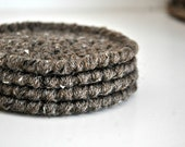 Brown Fleck Coasters Modern Mug Rugs Home Decor Rustic Design Crocheted Accessories Custom Colors