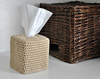 Buff Modern Square Tissue Box Cover Nursery Decoration Beige Home Decor Tan Kleenex Box Cover