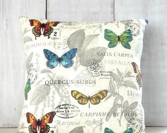 Bright Butterflies Pillow Cover - Blue - Orange - Yellow - Green - Butterfly Pillow - Entomology
