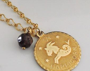 Vintage Necklace - Astrology Necklace - Capricorn Necklace - Vintage Gold Pendant - Birthstone - handmade jewelry