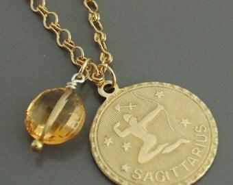 Vintage Necklace - Sagittarius Zodiac - Topaz Gemstone Necklace - Gold Necklace - December Birthstone - handmade jewelry