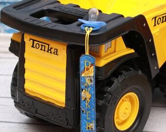 Personalized Pacifier Clip, Baby Boy Truck, Construction, Digger, Bulldozer, Dump Truck, Blue Bib, Baby Shower Gift, Birthday Baby Boy