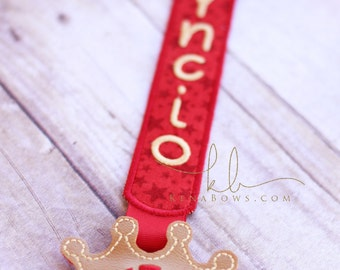 Prince Red and Gold Pacifier Clip: Personalized Binky Holder, Baby Boy, Universal Paci Clip, Pacifier Keeper, Pacifier Leash