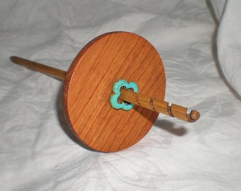 Spiral Tip Drop Spindle, Yucatan Rosewood and Oak with turquoise flower, High Whorl. 25 g