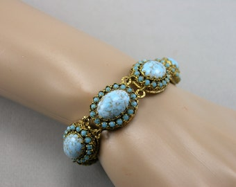 Vtg Czech Marbled Blue Glass Cabs Gold Plate Link Bracelet