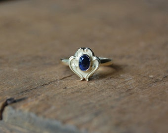 Antique Art Nouveau sapphire stick pin conversion ring ∙ 1910s sapphire conversion ring