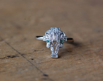 Art Deco 1920s platinum diamond emerald basket ring ∙ Art Deco platinum diamond stickpin conversion ring