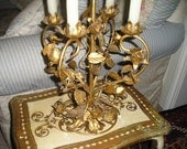 Vintage Romantic Lg.Italian Tole Roses Gold Gilt Candelabra Table Candleholder Extraordiner Holiday Decor