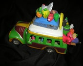 Vintage Fabulous Mexican Clay/Pottery Hand Carved Folk Art Candelario Medrano Bus w/Sheep,Hen,Pigs People Figures,Primitives