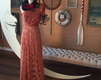 Long Persimmon Lace Vintage Style Dress with Bellport Crimson short  slip Octopus Infinity Wrap Dress.  Bridesmaids, Wedding