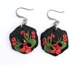 Floral Earrings - Polymer Clay Jewelry Earrings - Black Red Earrings - Dangle Earrings - Artisan Earrings - Abstract Boho Earrings -Handmade