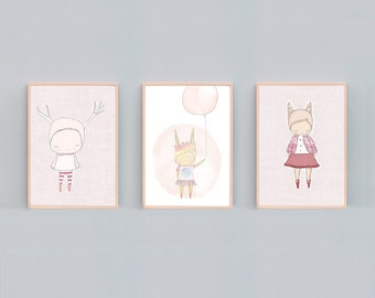 Pink Nursery Art, Girls Bedroom Art, Pink Bedroom Art Prints, Animal Nursery Prints, Art Print Set Three