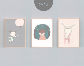 8x10, A4 Art Print Set Three, Bear Nursery Prints, Rabbit Nursery Prints, Bunny Print, Peach, Grey, Mint, Green - 3C