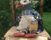 Prudence The Primitive Puffin Doll Grungy Bird Doll