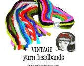 15 Yarn Headbands, Vintage Yarn Hair Ties, Lot I