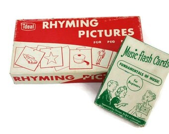 Vintage Games / Two Flash Card Games/  Rhyming and Music Matching Games for Family Fun Night and Educational Learning