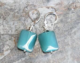Aqua Earrings, Light Blue Earrings, Crystal Earrings, Rectangle Earrings, Aqua Blue Earrings, Handmade Earrings