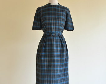 Vintage 1950s Day Dress...Darling Cotton Blend Plaid Day Dress Secretary
