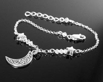 Moon and Stars Bracelet Sterling Silver Chain Bracelet Adjustable Everyday Bracelet Crescent Moon Charm Bracelet Celestial Jewelry