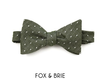 Olive Dot Bow Tie