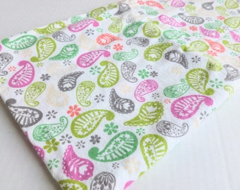 Paisley Flannel Fabric Juvenile Print Green, Lime, Pink, Gray on White Destash One Yard Yardage