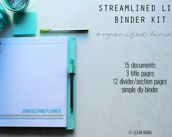 ORGANIZE - The Streamlined Life BINDER Kit - 15 pages - standard and half size included - Instant Download